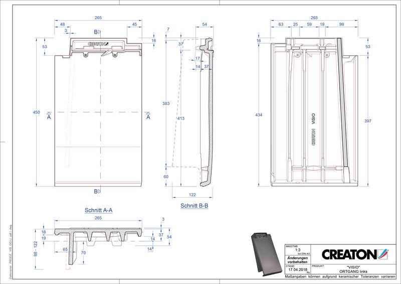 Plik CAD produktu VISIO dachówka boczna lewa OGL
