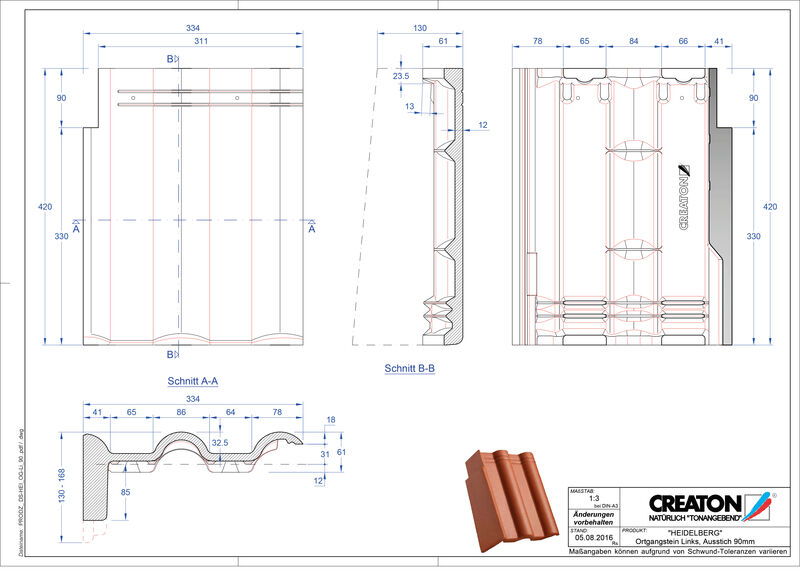 Plik CAD produktu HEIDELBERG dachówka pulpitowa boczna lewa PultOGL-90