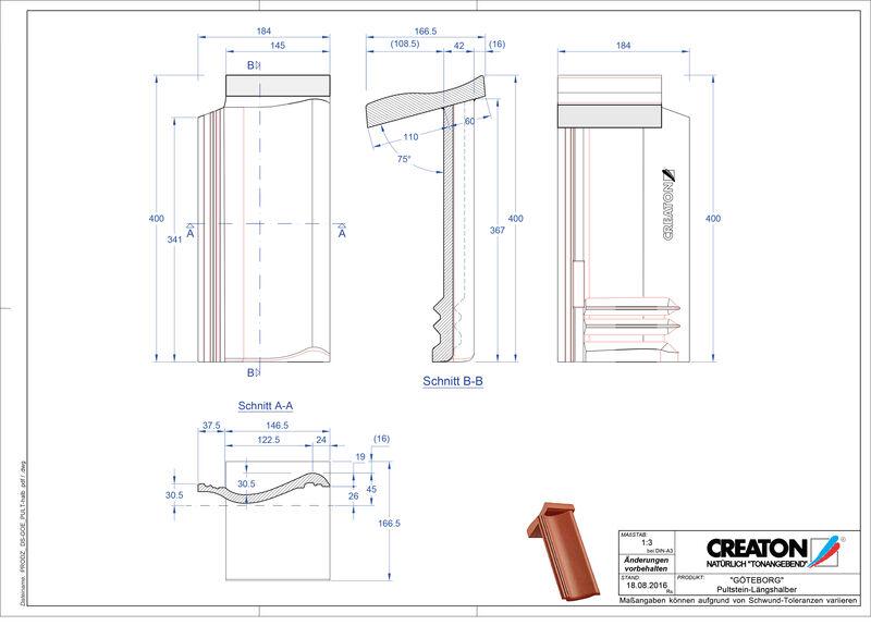 Plik CAD produktu GÖTEBORG dachówka pulpitowa Pult-halb