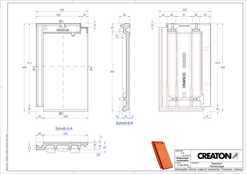 Plik CAD produktu DOMINO dachówka połaciowa FLA