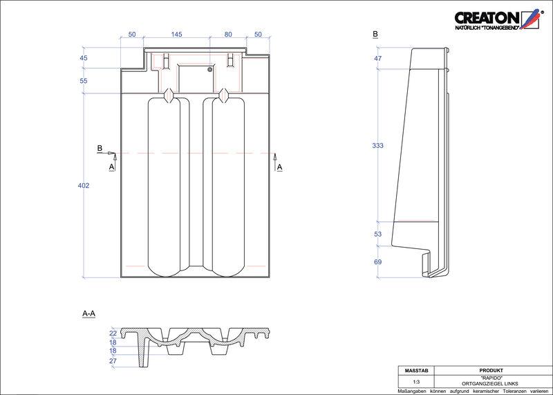 Plik CAD produktu RAPIDO dachówka boczna lewa OGL
