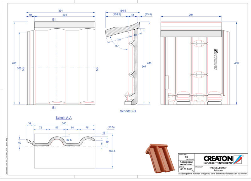 Plik CAD produktu HEIDELBERG dachówka pulpitowa PULTSTEIN