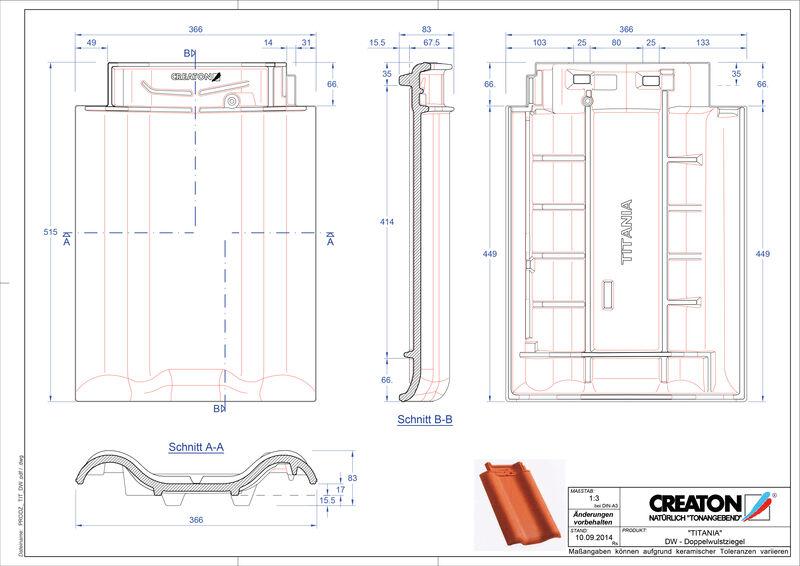 Plik CAD produktu TITANIA dachówka dwufalowa DWZ