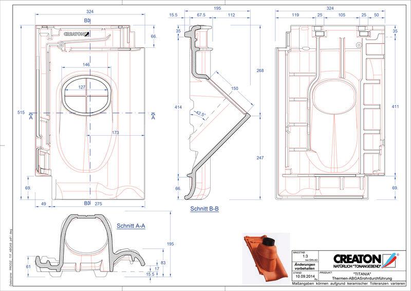 Plik CAD produktu TITANIA dachówka przelotowa do kominów gazowych THERME
