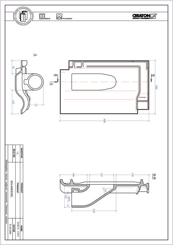 Plik CAD produktu PREMION dachówka przelotowa do systemu baterii solarnych SOLAR
