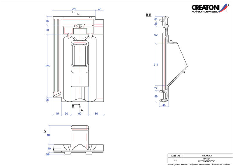 Plik CAD produktu RATIO dachówka antenowa ANTENNE