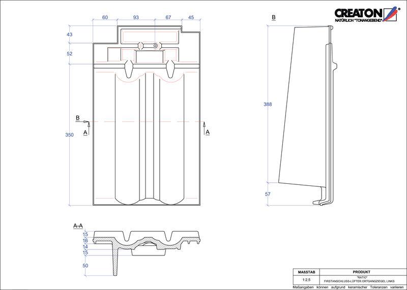 Plik CAD produktu RATIO dachówka kalenicowa wentylacyjna boczna lewa FALOGL