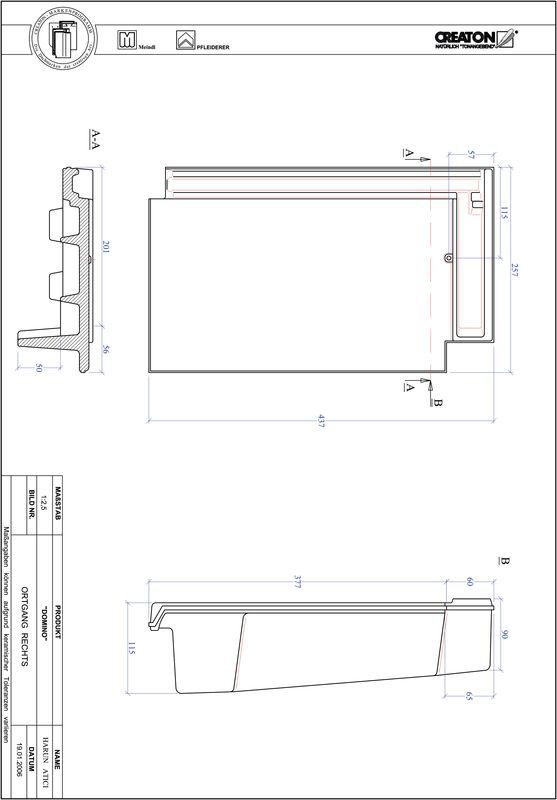 Plik CAD produktu DOMINO dachówka boczna prawa OGR