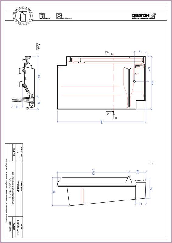 Plik CAD produktu PREMION dachówka kalenicowa wentylacyjna boczna prawa FALOGR