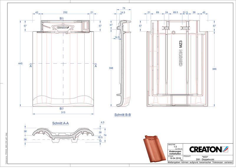 Plik CAD produktu MZ3 dachówka dwufalowa DWZ
