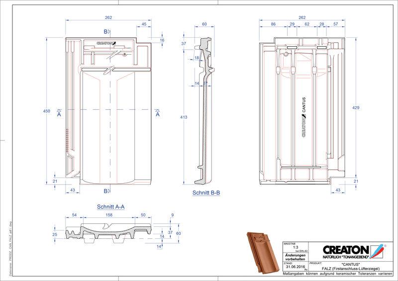 Plik CAD produktu CANTUS dachówka kalenicowa wentylacyjna FALZ