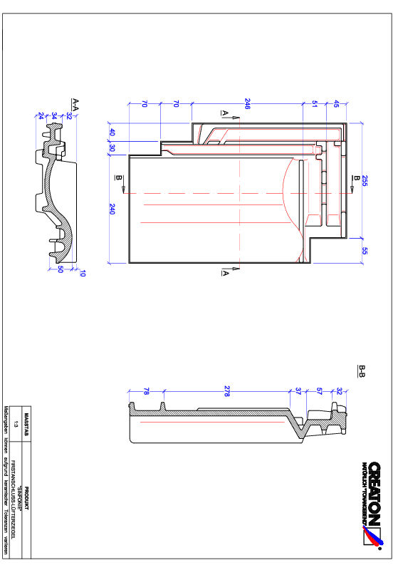 Plik CAD produktu SINFONIE dachówka kalenicowa wentylacyjna FALZ