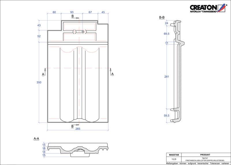 Plik CAD produktu RATIO dachówka kalenicowa wentylacyjna dwufalowa FALDWZ