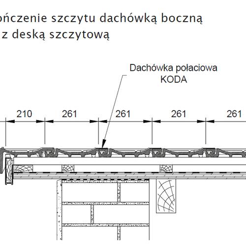 Rysunek techniczny - Wykończenie szczytu dachówką boczną lewą z deską szczytową