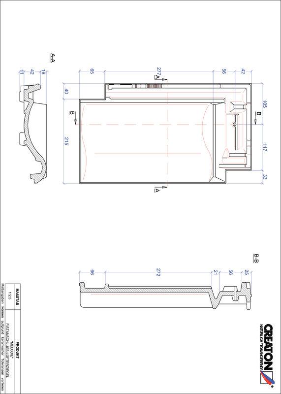 Plik CAD produktu MELODIE dachówka kalenicowa wentylacyjna FALZ