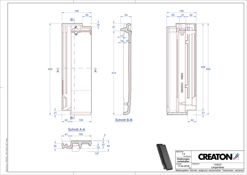Plik CAD produktu VISIO dachówka połówkowa LH