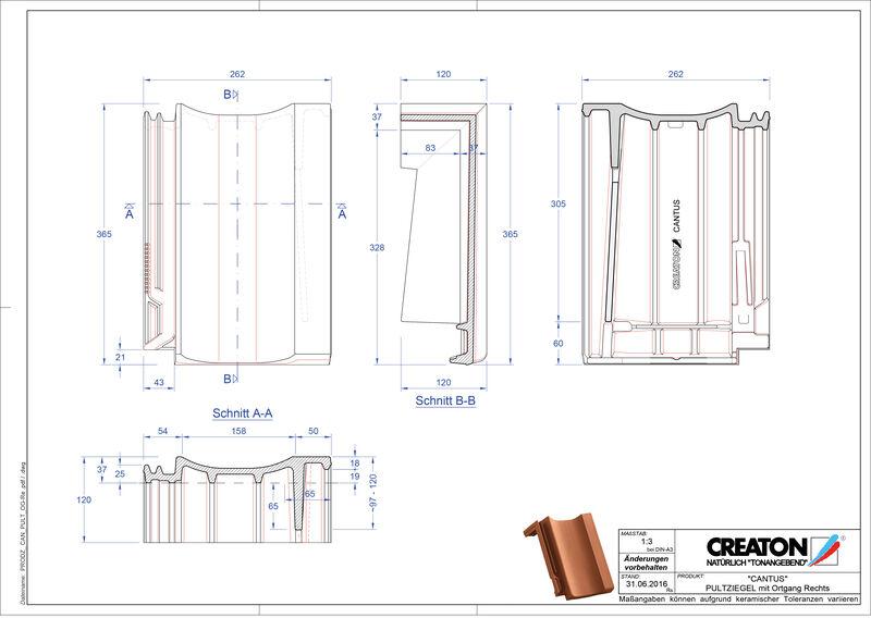 Plik CAD produktu CANTUS dachówka pulpitowa boczna prawa PULTOGR