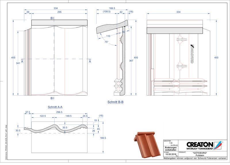 Plik CAD produktu GÖTEBORG dachówka pulpitowa PULTSTEIN
