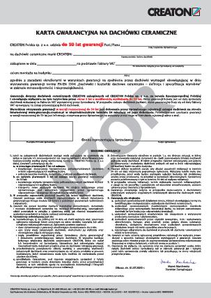 Karta gwarancyjna na dachówki ceramiczne CREATON - wzór obowiązujący od 01.07.2020