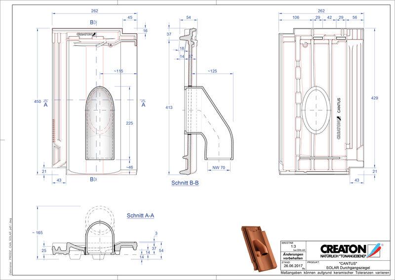 Plik CAD produktu CANTUS dachówka przelotowa do systemu baterii solarnych SOLAR
