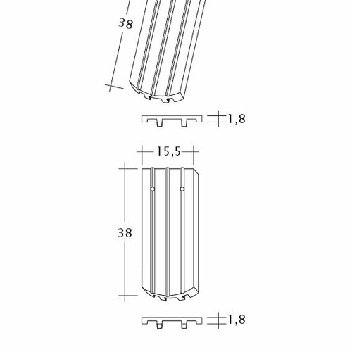 Rysunek techniczny produktu PROFIL Kera-Saechs-15cm-FlaechenLUEFTZ