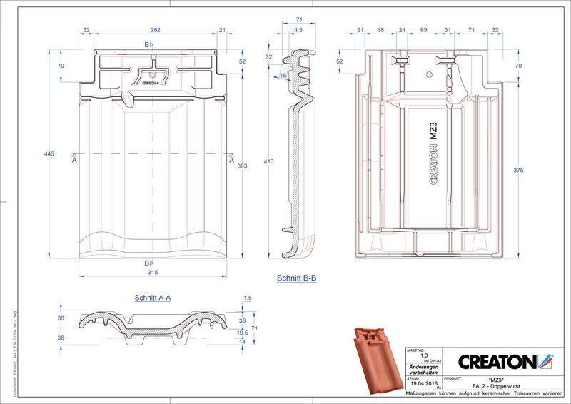 Plik CAD produktu MZ3 dachówka kalenicowa wentylacyjna dwufalowa FALDWZ