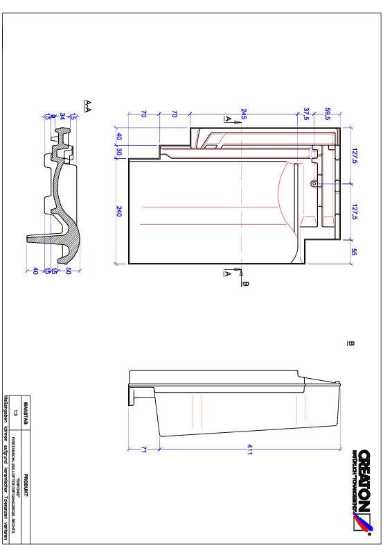 Plik CAD produktu SINFONIE dachówka kalenicowa wentylacyjna boczna prawa FALOGR