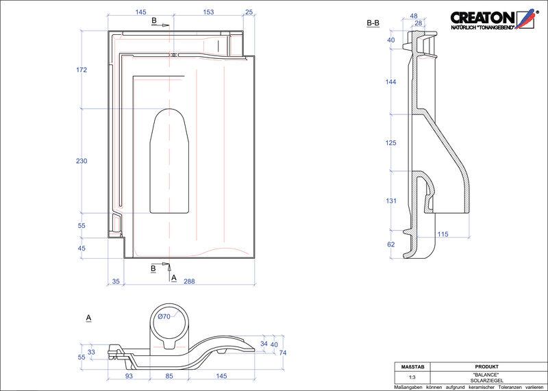 Plik CAD produktu BALANCE dachówka przelotowa do systemu baterii solarnych SOLAR