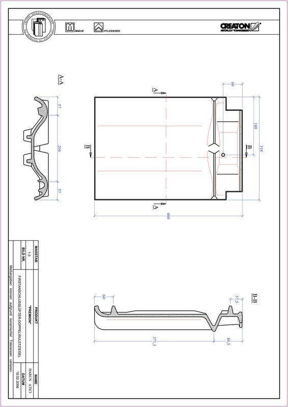 Plik CAD produktu PREMION dachówka kalenicowa wentylacyjna dwufalowa FALDWZ