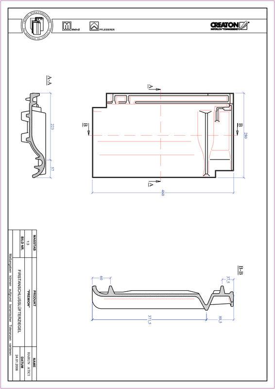 Plik CAD produktu PREMION dachówka kalenicowa wentylacyjna FALZ