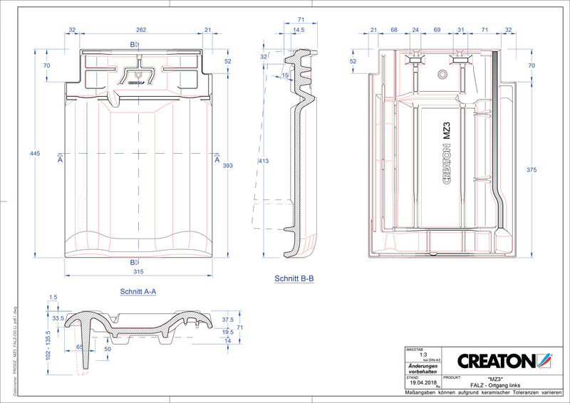 Plik CAD produktu MZ3 dachówka kalenicowa wentylacyjna boczna lewa FALOGL