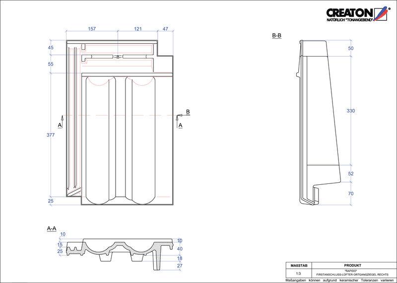 Plik CAD produktu RAPIDO dachówka kalenicowa wentylacyjna boczna prawa FALOGR