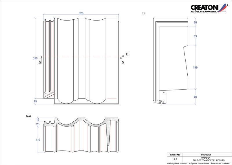 Plik CAD produktu RAPIDO dachówka pulpitowa boczna prawa PULTOGR