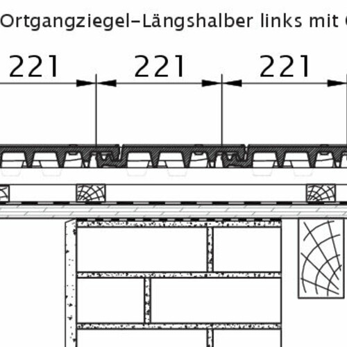 Rysunek techniczny produktu VISIO OG dachówka boczna połówkowa lewa OLH