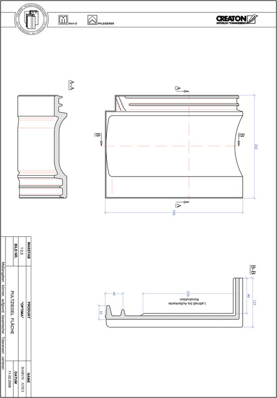 Plik CAD produktu TERRA OPTIMA dachówka pulpitowa połaciowa PULTFLA