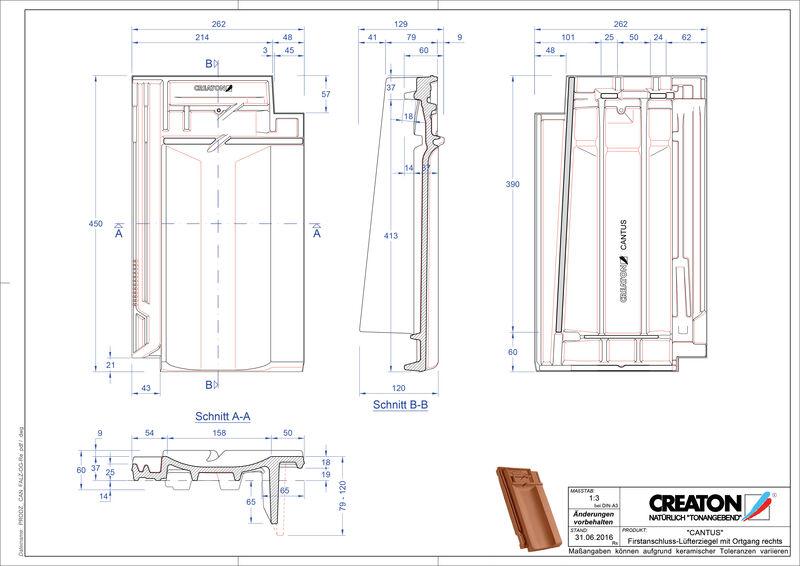 Plik CAD produktu CANTUS dachówka kalenicowa wentylacyjna boczna prawa FALOGR
