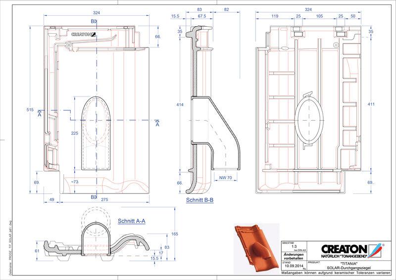 Plik CAD produktu TITANIA dachówka przelotowa do systemu baterii solarnych SOLAR