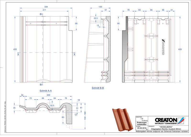 Plik CAD produktu HEIDELBERG dachówka pulpitowa boczna prawa PultOGR-90