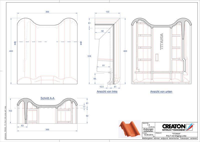 Plik CAD produktu TITANIA dachówka pulpitowa boczna lewa PULTOGL