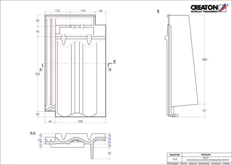 Plik CAD produktu RATIO dachówka kalenicowa wentylacyjna boczna prawa FALOGR