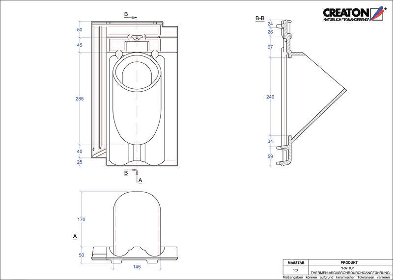 Plik CAD produktu RATIO dachówka przelotowa do kominów gazowych THERME