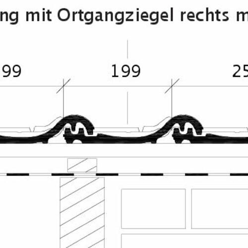Rysunek techniczny produktu HARMONIE OG dachówka boczna prawa z blachą i dachówka połaciowa ORF