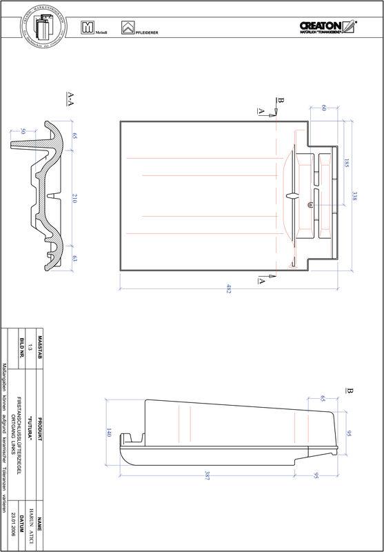 Plik CAD produktu FUTURA dachówka kalenicowa wentylacyjna boczna lewa FALOGL