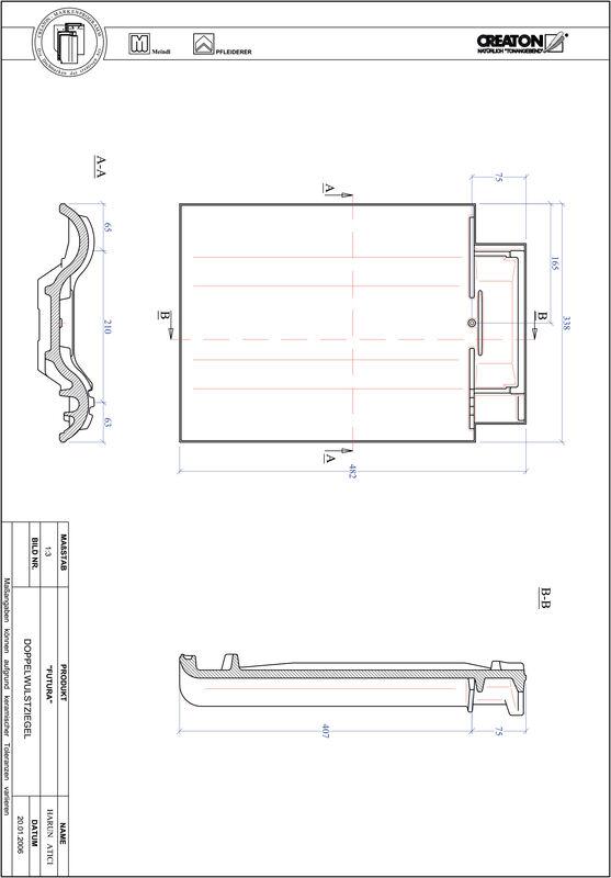 Plik CAD produktu FUTURA dachówka dwufalowa DWZ