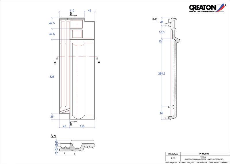 Plik CAD produktu RATIO dachówka kalenicowa wentylacyjna połówkowa FALLH