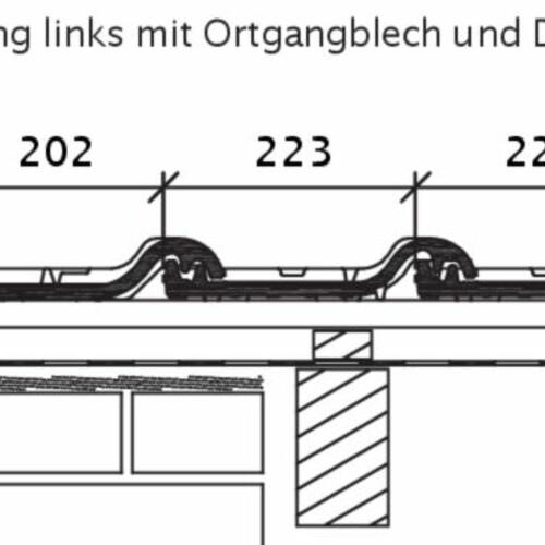 Rysunek techniczny produktu HARMONICA OG dachówka boczna lewa z blachą i dachówka dwufalowa ODL