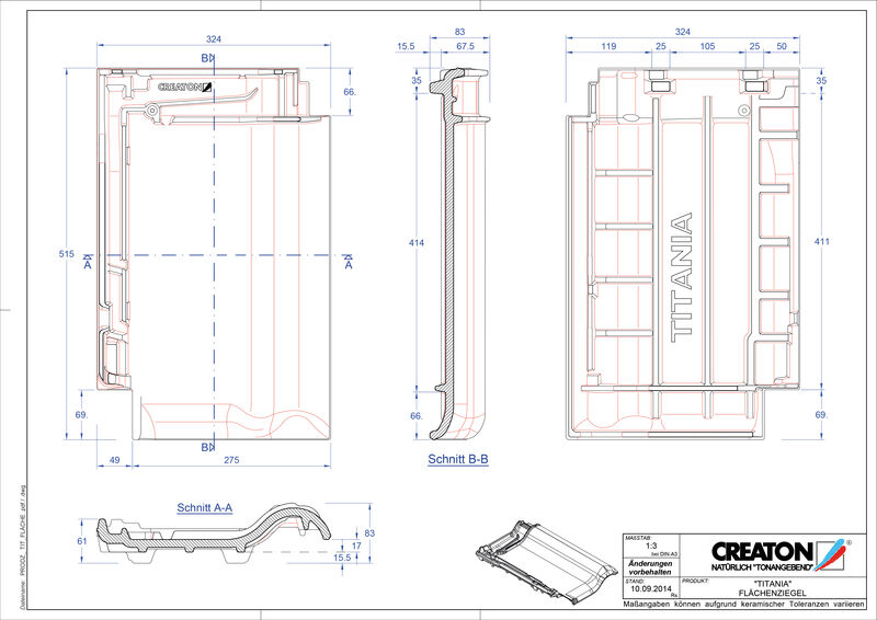 Plik CAD produktu TITANIA dachówka połaciowa FLA