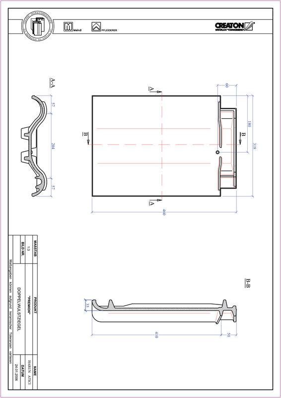 Plik CAD produktu PREMION dachówka dwufalowa DWZ