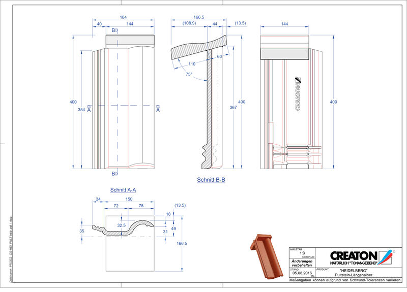 Plik CAD produktu HEIDELBERG dachówka pulpitowa Pult-halb