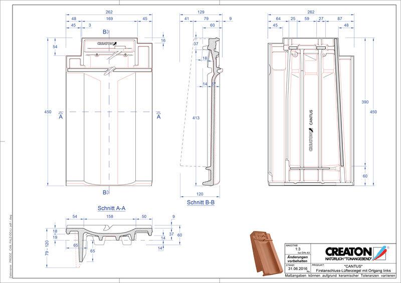 Plik CAD produktu CANTUS dachówka kalenicowa wentylacyjna boczna lewa FALOGL